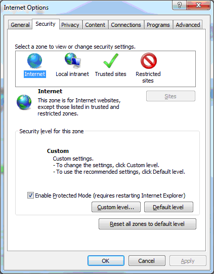 Internet Explorer Security Tab