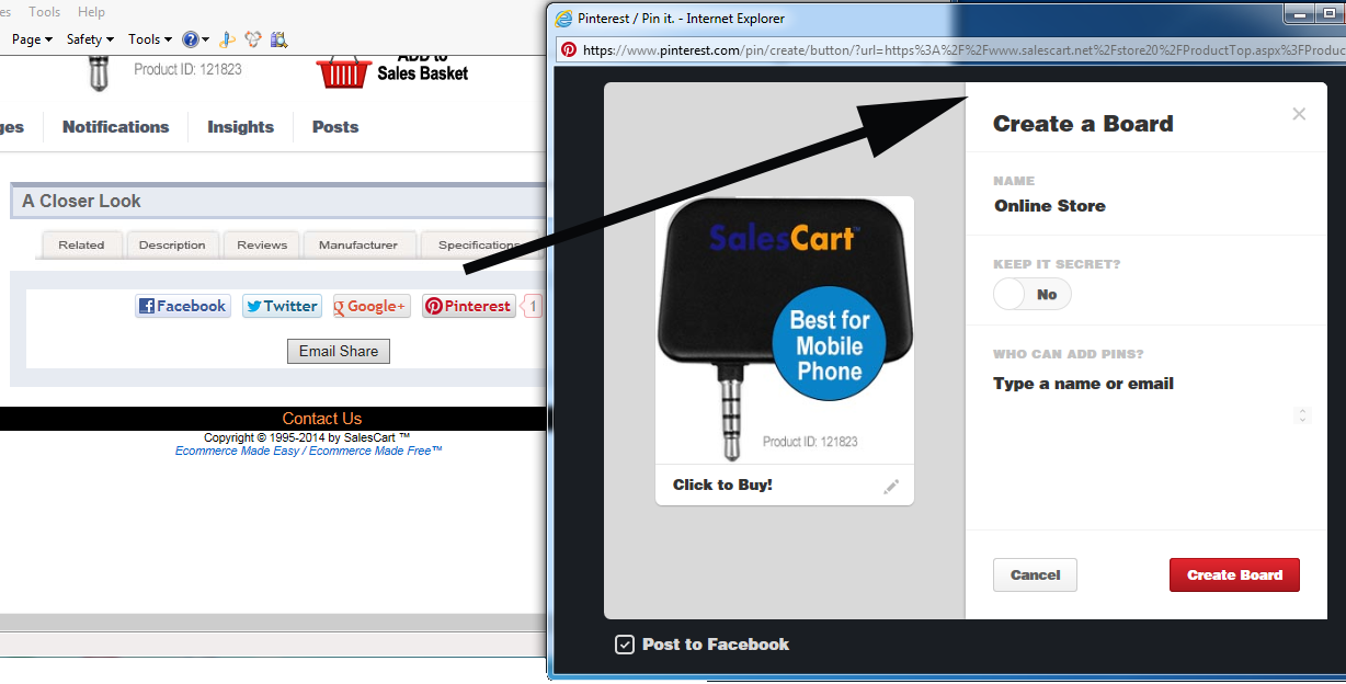 Create a Pinterest board to pin and sell your products